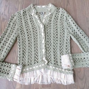 Anthropologie One Girl Who Green Crochet Sweater S